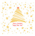 silhouette a christmas tree golden color vector image