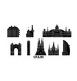 spain barcelona flat travel skyline set spain vector image vector image