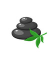 stack of three black hot stones spa salon vector image vector image