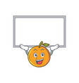 up board orange fruit cartoon character vector image vector image