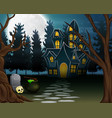 view of a haunted house with the background of a f vector image