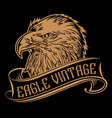vintage eagle head logo ribbon america logo vector image vector image