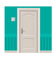 wooden door in turquoise wall with light switch vector image