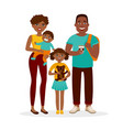 young african american family standing together vector image