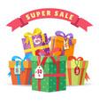sale present boxes big pile vector image
