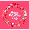 Valentines Day Flat Circle Objects vector image