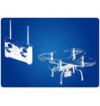 3d model of quadcopter and radio remote control vector image vector image