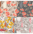 4 seamless patterns floral elements spring flowers vector image vector image
