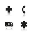 ambulance drop shadow black icons set vector image