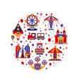amusement park seamless pattern round shape vector image vector image
