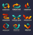 arrows logo business identity symbols with vector image vector image