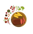 BBQ Steak on Plate vector image vector image