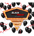 black friday sale poster with shiny balloons vector image vector image