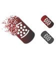 broken dotted halftone bandaid icon vector image