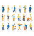 builders and engineers with tools and bricks set vector image