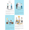 business set of posters with white-collar workers