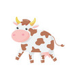 cartoon of cow with pink nose and vector image vector image