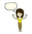 cartoon woman holding up hands with speech bubble vector image vector image