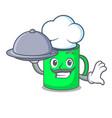chef with food mug mascot cartoon style vector image