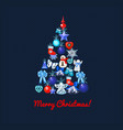christmas tree with decoration on a blue dotted vector image vector image