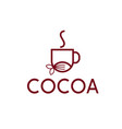 cocoa drink simple cup and cocoa bean design vector image