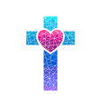 cross of jesus and heart mosaic vector image