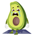 crying avocado on white background vector image vector image