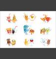 cute comic food cartoon characters best friends vector image vector image
