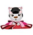 Cute kitty geisha on white background anime vector image vector image