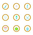 dentist icons set cartoon style vector image