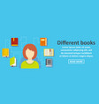 different books banner horizontal concept vector image