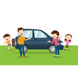 family happy a new car vector image vector image