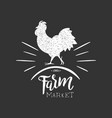 farm market label with rooster silhouette vector image vector image