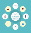 flat icons deodorant hairspray cotton buds and vector image