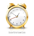 Golden alarm clock isolated on white background vector image