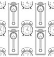 grandfather clock and alarm clock black and white vector image vector image