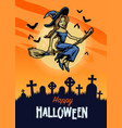 halloween design with cute witch riding flying vector image vector image