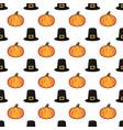 halloween orange pumpkin and black witch hat vector image vector image