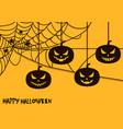 happy halloween spider net theme pumpkins silhouet vector image