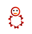 Happy smiley with red bow vector image vector image