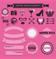 hipster feminine design elements set on pink dots vector image vector image