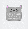 i love cats people shirt quote lettering vector image vector image