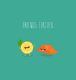 lemon and salmon friends vector image vector image