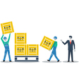 Logistics services warehouse workers with boxes vector image vector image