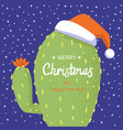 merry christmas card with cactus and holiday text vector image vector image