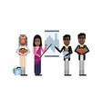 multiethnic business team doing presentation vector image vector image