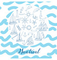 nautical background hand drawn elements vector image vector image