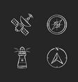 navigation chalk white icons set on black vector image vector image