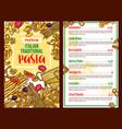 pasta italian restaurant menu template vector image vector image