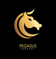 pegasus icon of golden horse head vector image